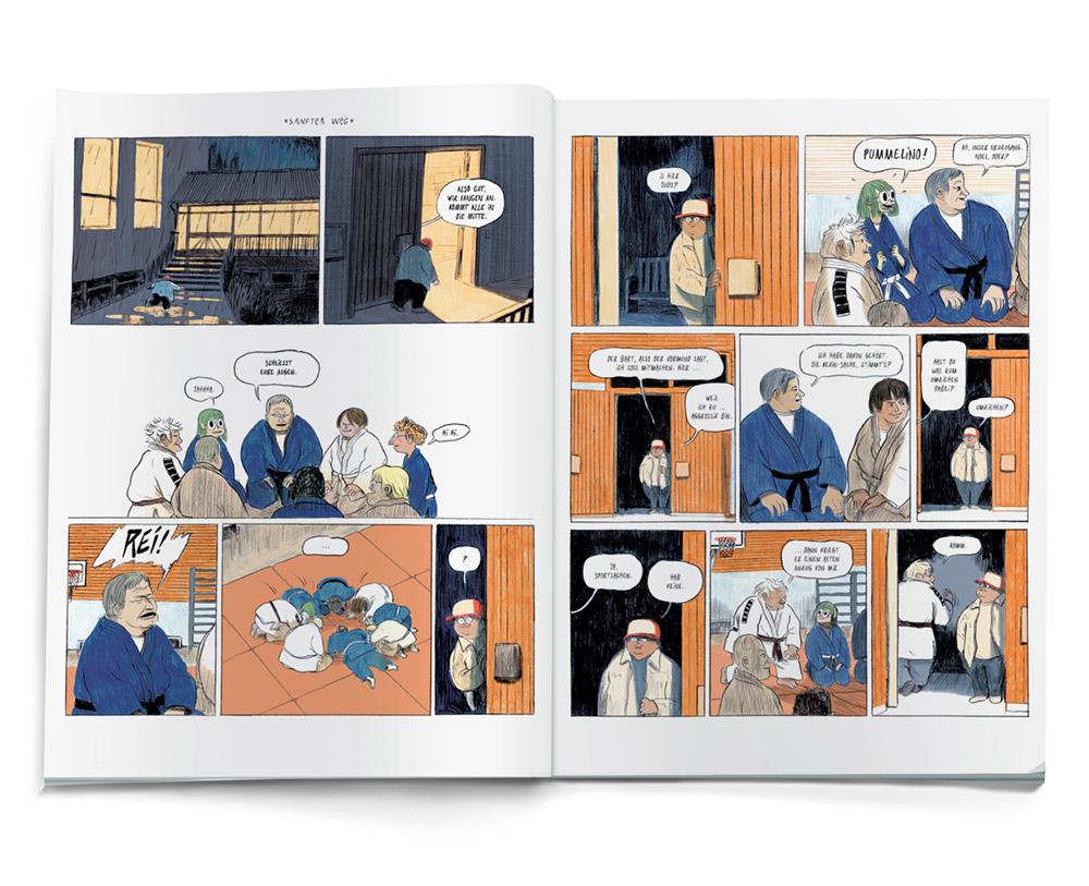 offenes Buch - ZDF Comic illustration im Karateverein