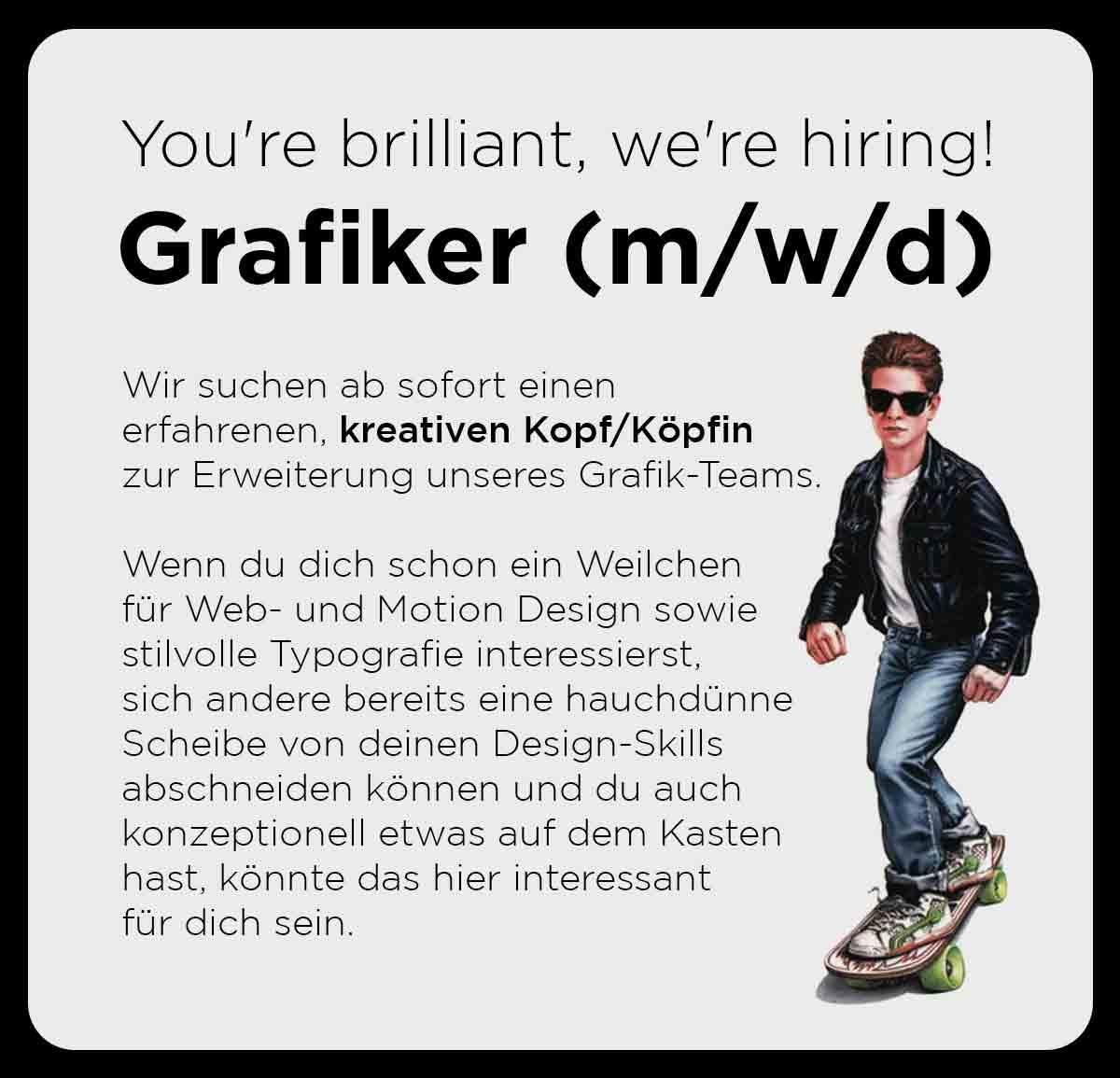 grafik Jobanzeige Grafiker gesucht text junge auf Skateboard