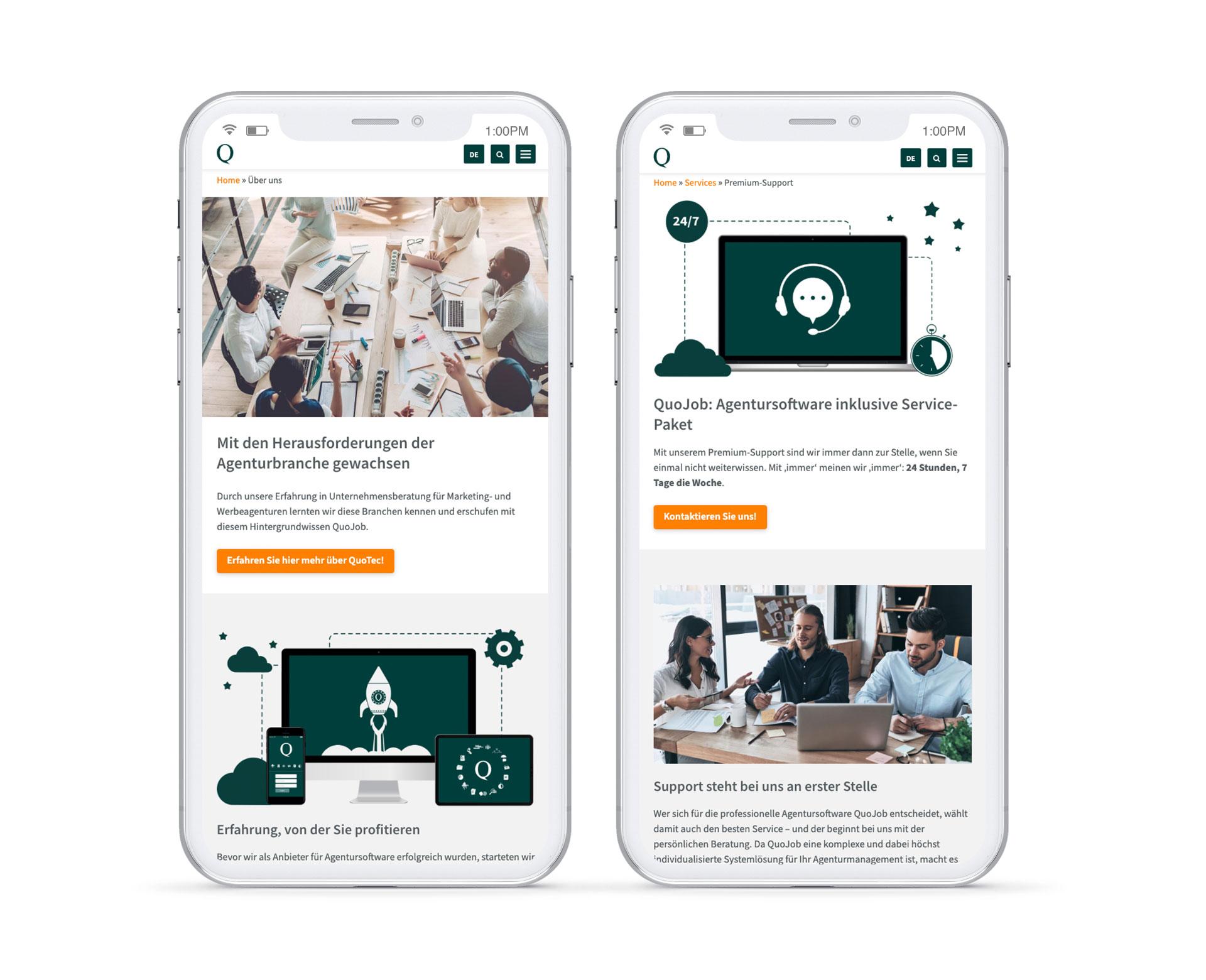 Mobilde Smartphone Ansicht von QuoJob Website mit Fotos und Erklärtexten