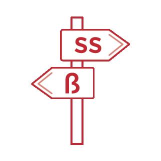 Infografik-ein schild das zeigt zwei richtungen eine s oder ß