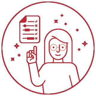 Logo für Was umfasst ein Lektorat? mit Mädchen und Checkliste
