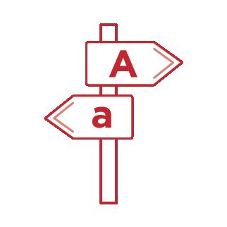 Groß oder Klein Schild Grafik nach Links oder Rechts