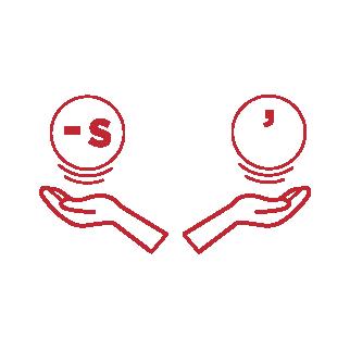 Grafik rot linke Hand und rechte Hand halten