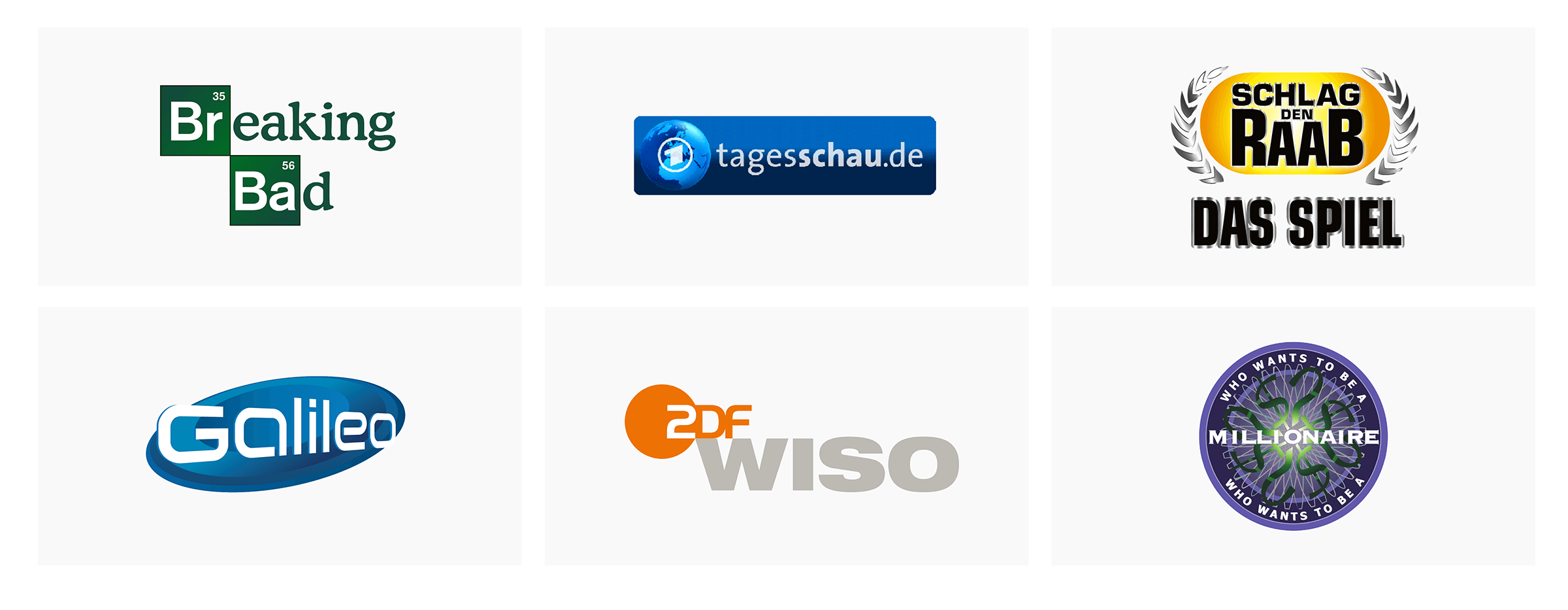 TV-Logos als Wall: Breaking Bad, Tagesschau, Schlag den Raab – Galileo, ZDF Wiso, Who wants to be a millionaire?