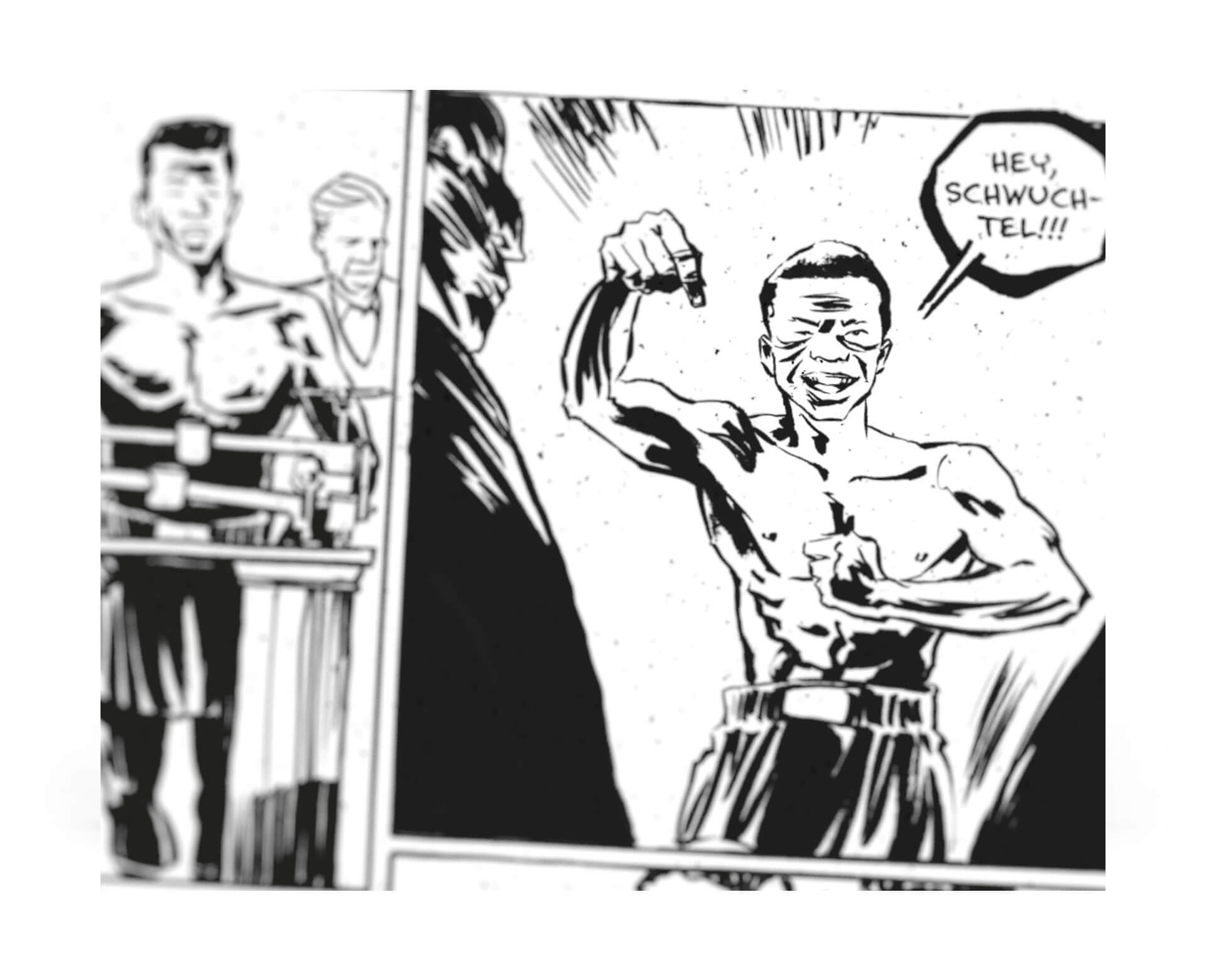 Illustration Comic Benny Paret Beleidigt Emile Griffith mit den Worten