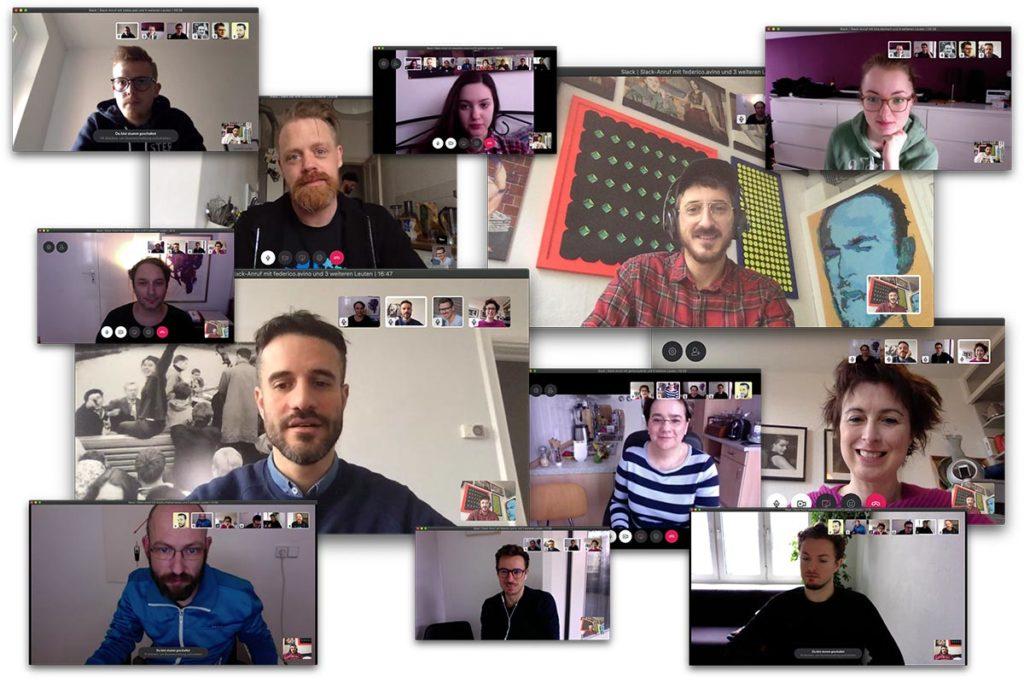 Videokonferenz Aleks und Shantu Collage Team