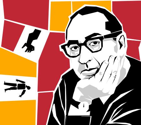 illustration portrait von title designer saul bass