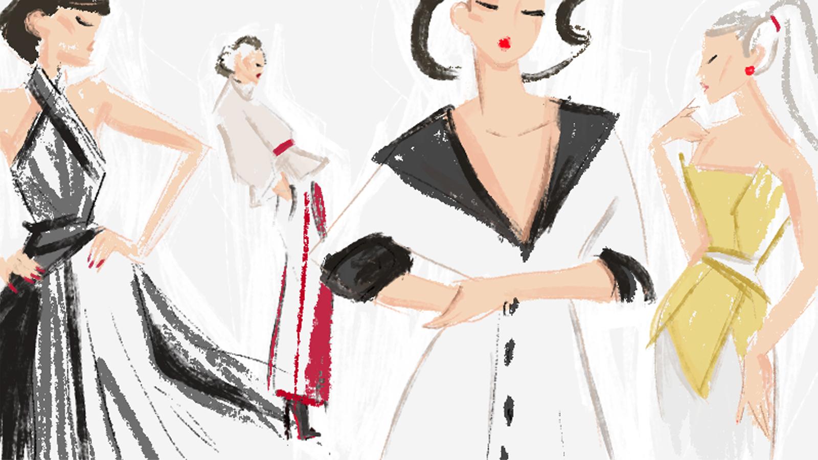 modeillustration mit vier frauen models rot weiss schwarz