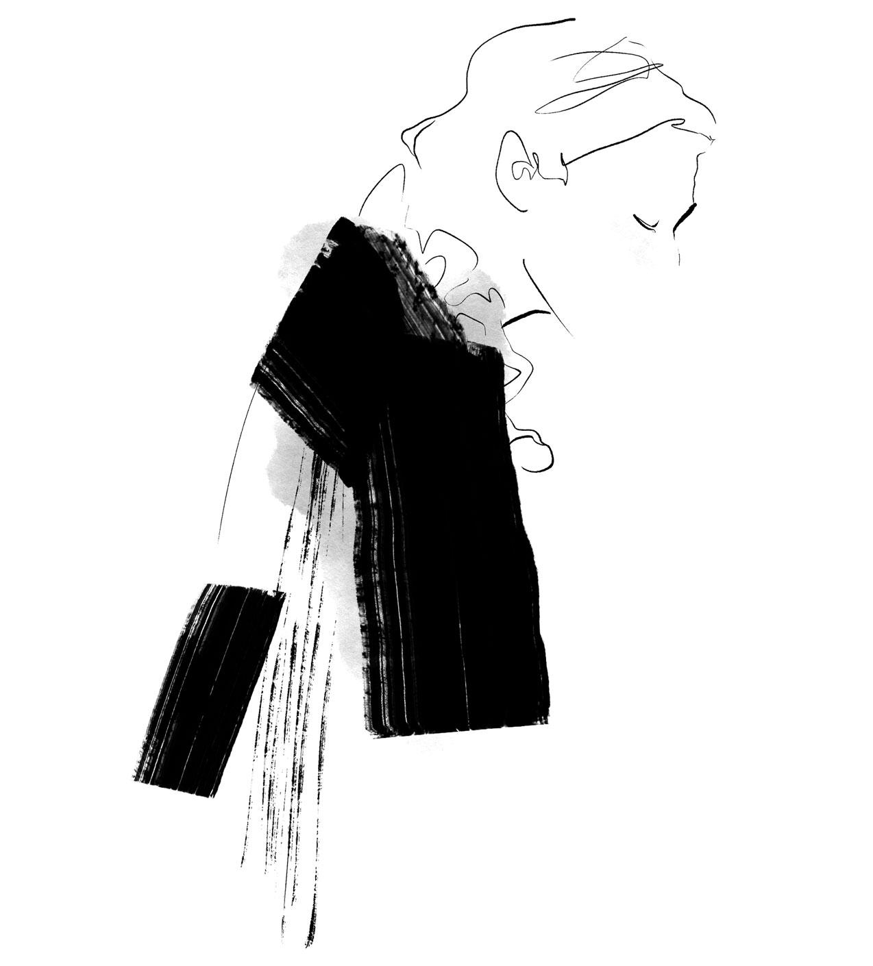 Portrait Illustration der Modeillustratorin Aurore de la Morinerie schwarz weiss tinte