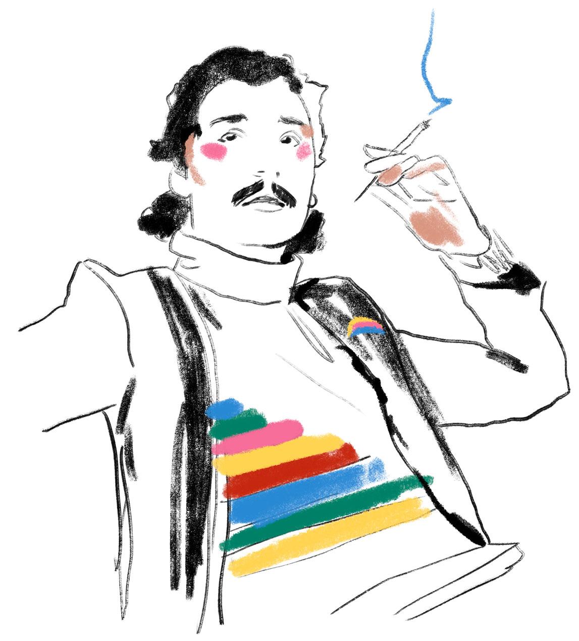 Portrait Illustration des Modeillustrators Antonio Lopez mit regenbogen Farben und buntem t-shirt print