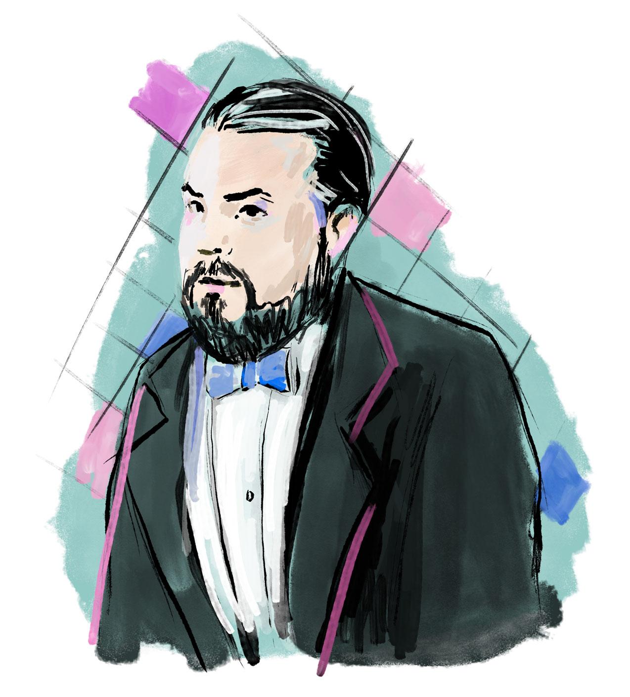 Illustration des Modeillustrators Christian Berard gezeichnet in seinem Stil mit Sakko