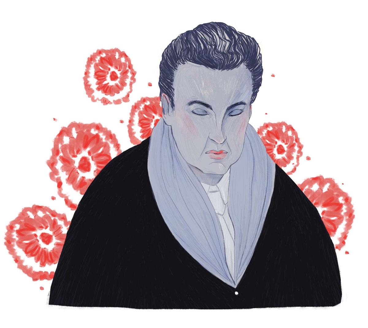 Illustration des Modeillustrators George Lepape gezeichnet in seinem Stil mit Blumen und Mantel