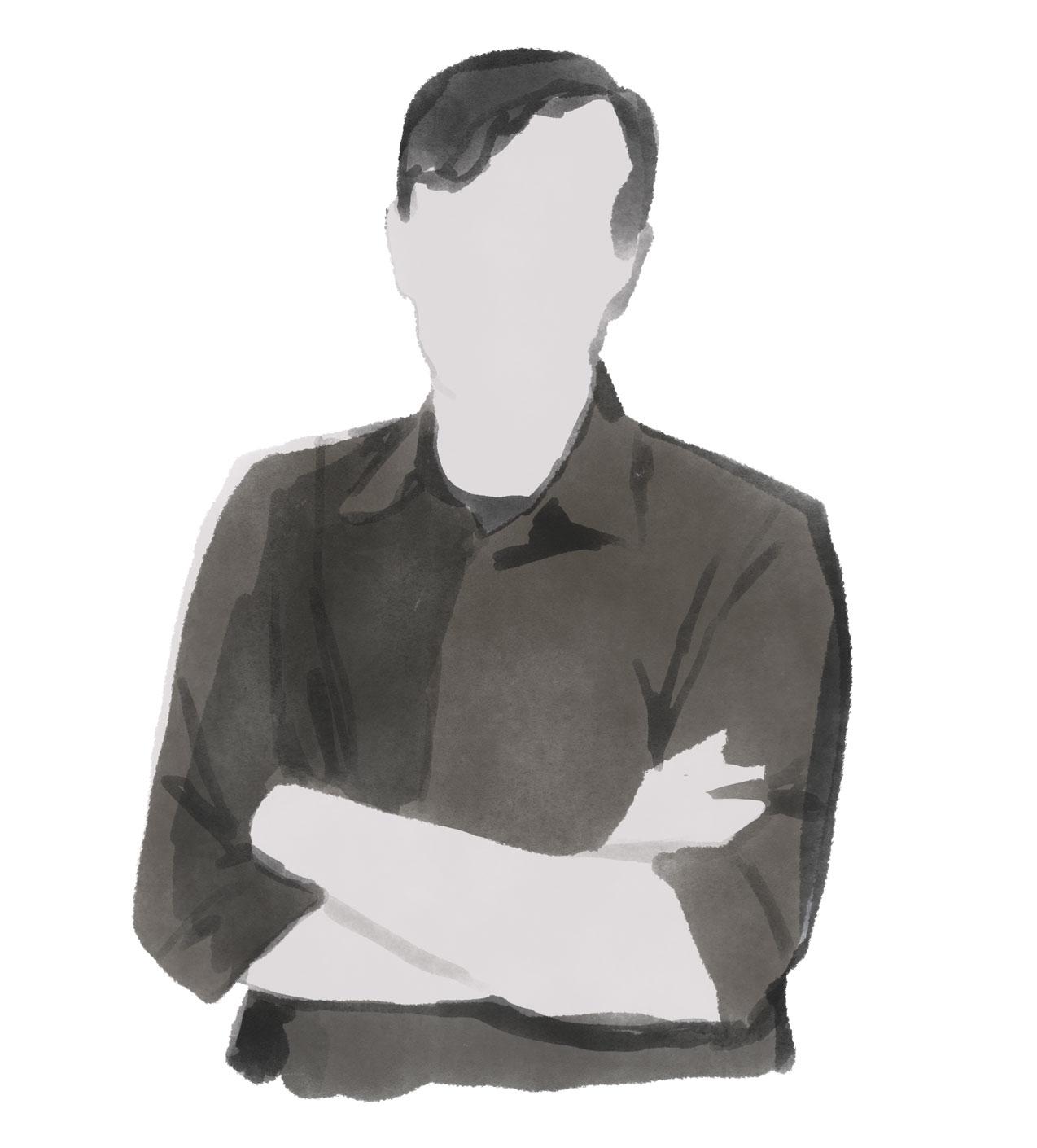 Portrait Illustration des Modeillustrators Mats Gustafson schwarz weiss tinte