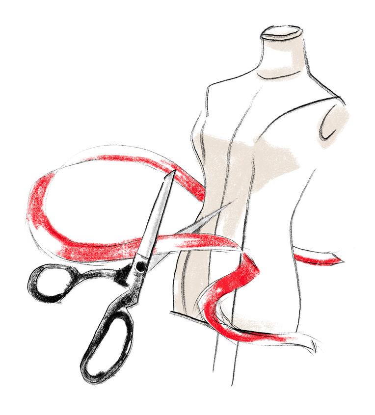 antonio-lopez-mode-illustration-modepuppe-schere-rotes-band