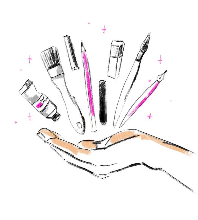 es-lebe-die-illustration-utensilien-pinsel-farbe-stift-radierer-tinte