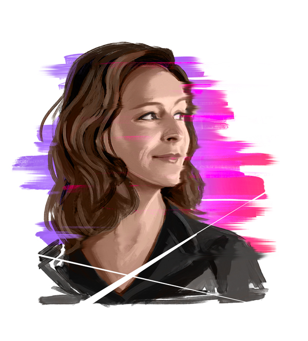 Michelle Dougherty Portrait als illustration zum insight Titel design zwischen den Welten