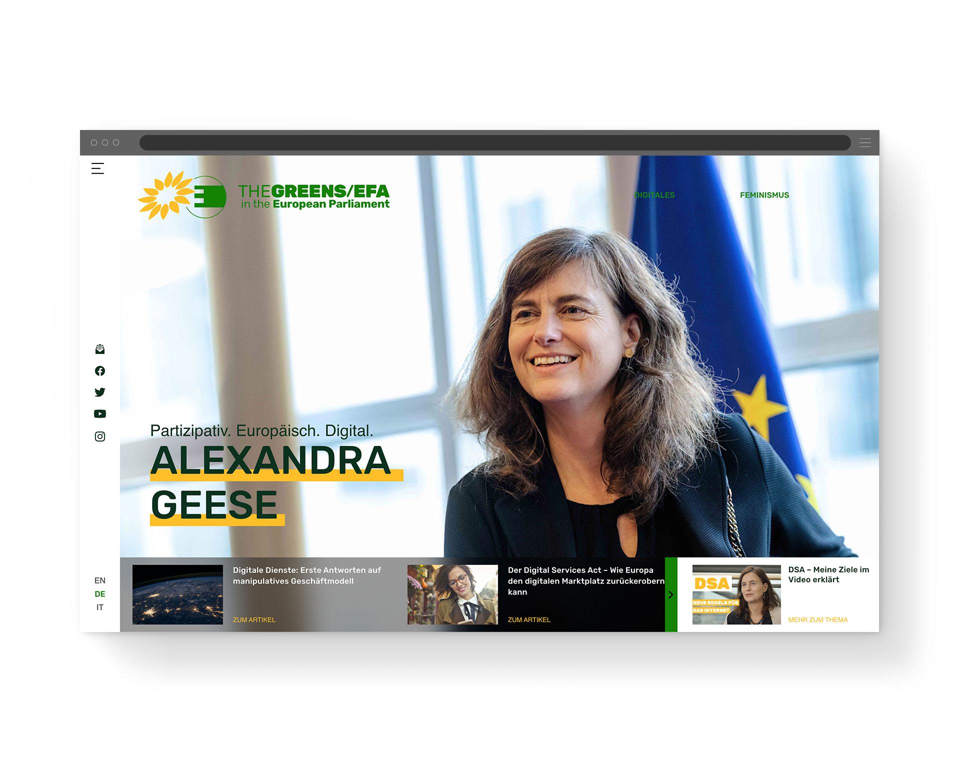 Desktop-Ansicht der Startseite von EU-Politikerin Alexandra Geese