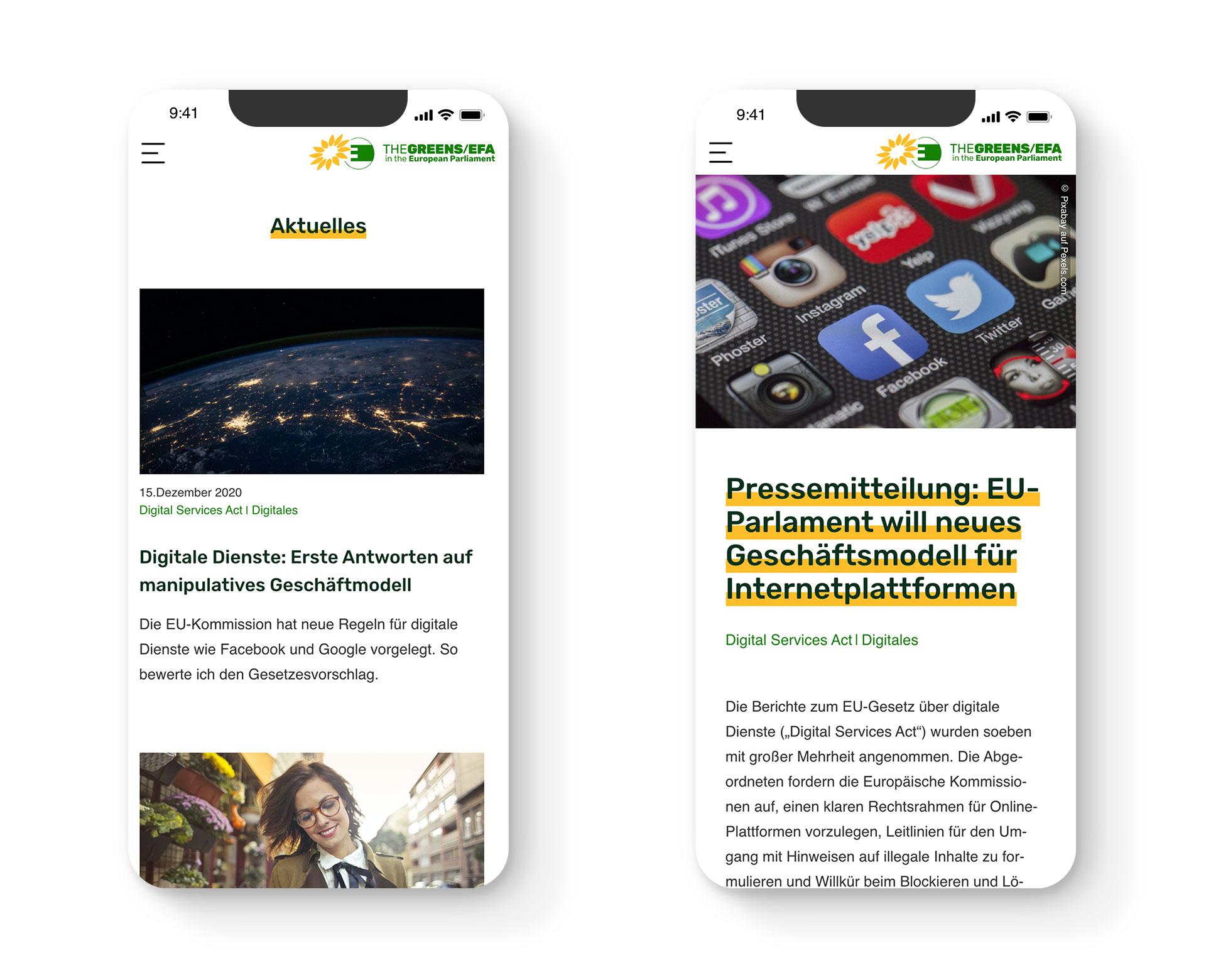 Mobilansicht von Newsbeiträgen auf der Website der EU-Politikerin Alexandra Geese
