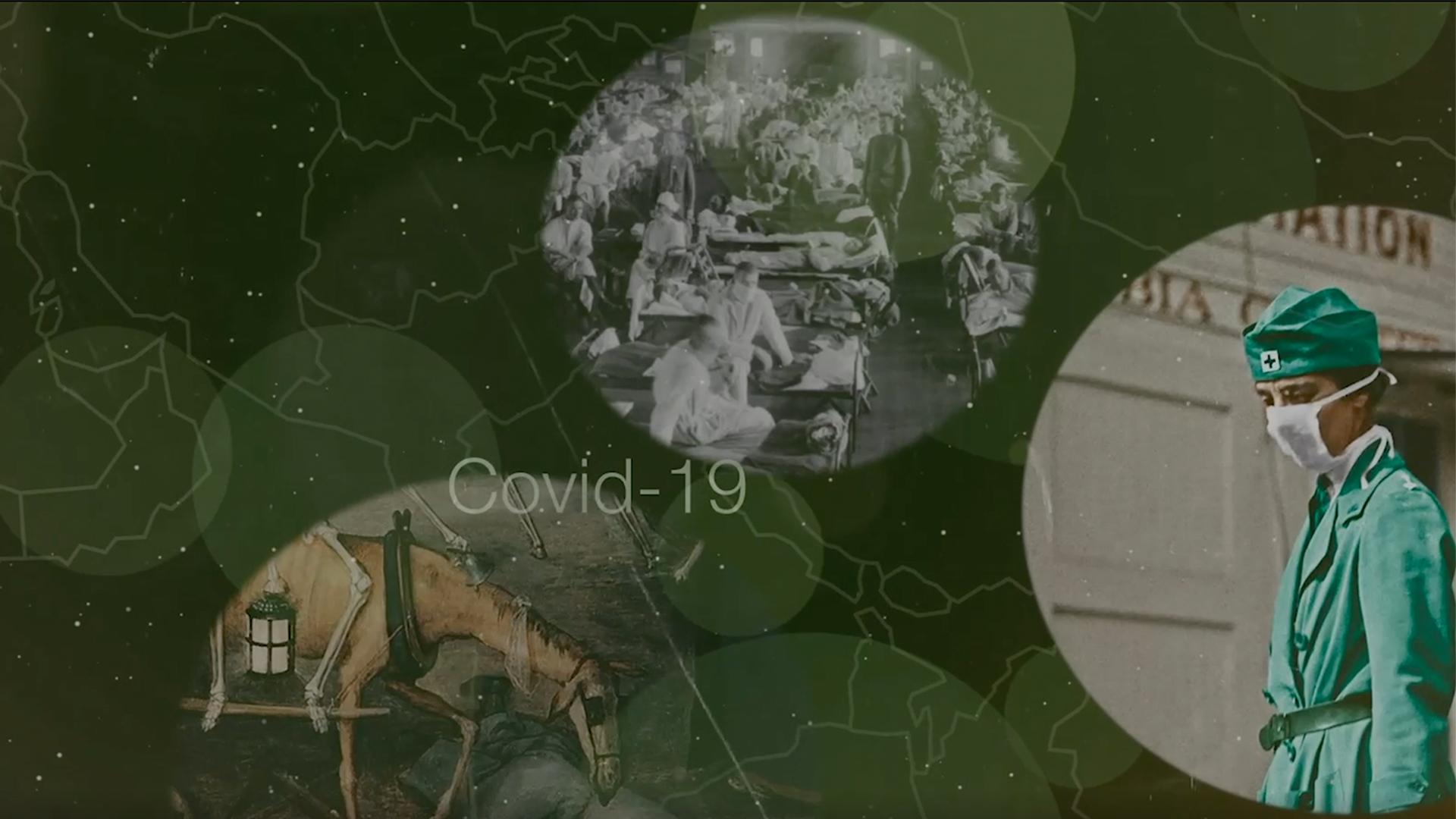 Collage von Covid19 mit geschichtlichen Motiven